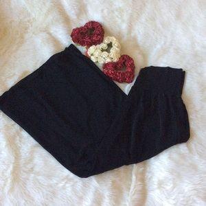 Black ankle length wide leg dress pants